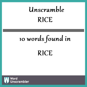 10 words unscrambled from rice
