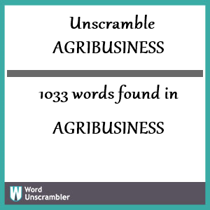 1033 words unscrambled from agribusiness