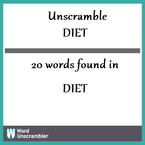 20 words unscrambled from diet