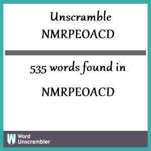535 words unscrambled from nmrpeoacd